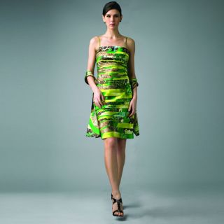 York Womens Green Animal Strapless Dress Today $113.19
