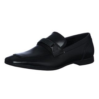 Calvin Klein Mens Sean Black Leather Loafers