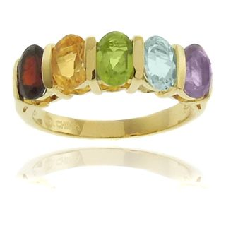 Gem Jolie 18k Gold Overlay Multi gemstone 5 stone Ring