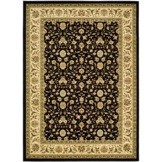 Lyndhurst Collection Traditional Black/ Ivory Rug (9 x 12