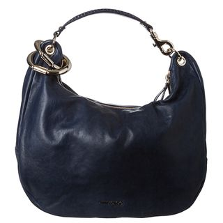 Jimmy Choo Solar Navy Calf Leather Hobo Handbag