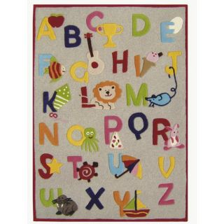 Hand carved Alexa Kids Alphabets & Letters Beige Wool Rug (36 x 56)