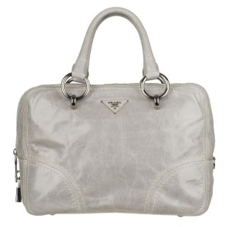 Prada BL0702 Light Grey Leather Bowler Bag