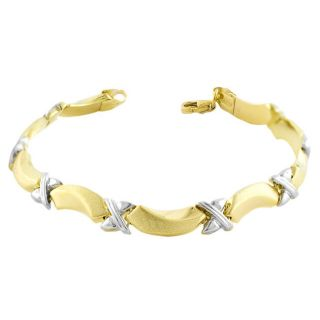 10k Two tone Gold Ribbons and Petals Link Bracelet