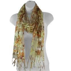 Hand woven Silk Orange and Yellow Roses on Lattice Scarf (India