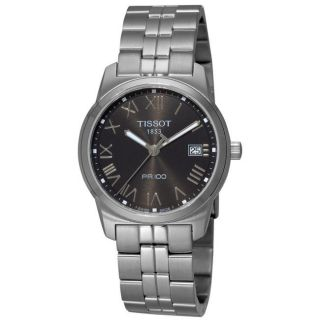 Tissot Mens T Classic PR 100 Black Face Stainless Steel Watch