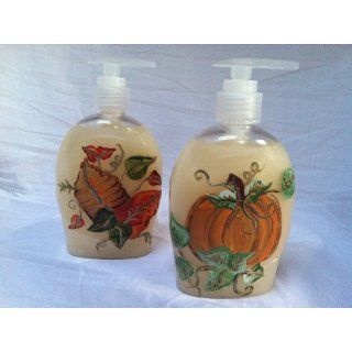 Hand Painted Thanksgiving Fall Pumpkin and Leaves Hand Soap ~ Set of 2