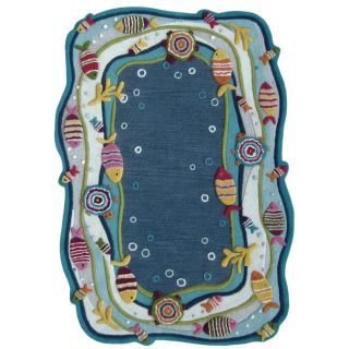 Hand carved Alexa Kids Aqua Fish and Bubbles Blue Wool Rug (5 x 8