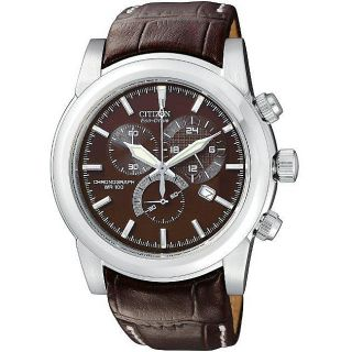 Citizen Mens Eco Drive Brown Dial Leather Strap Chronograph Watch