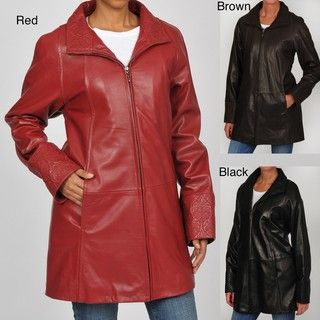 Tibor Womens Plus Size Embossed Leather Swing Coat