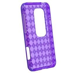 Purple Argyle TPU Rubber Case/ Screen Protector for HTC EVO 3D