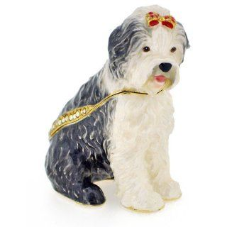 Old English Sheepdog Swarovski Crystal Jewelry Trinket Box