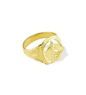 New Mens 14k Yellow Gold Diamond Cut Horse Head Ring