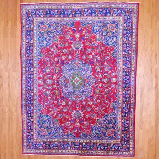 Persian Hand knotted Mashad Red/ Navy Wool Rug (96 x 128