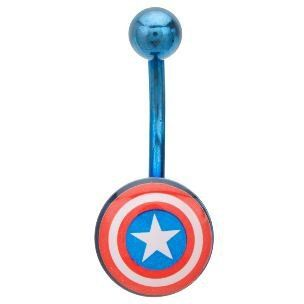 Captain America 316L Surgical Steel Blue Belly Ring   14G