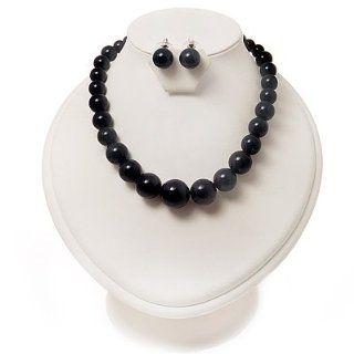 Navy Blue Acrylic Bead Choker Necklace And Stud Earring