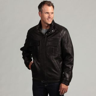 Izod Mens Lambskin Leather Hidden Hood Jacket