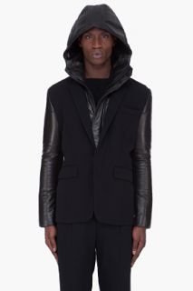JUUN.J Leather Trim Detachable Hood Jacket for men