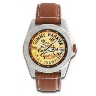 Tommy Bahama Relax Mens Island Hooper Leather Strap Graphic Watch
