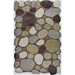 Alexa Hand carved Stones and Pebbles Wool Rug (76 x 96)
