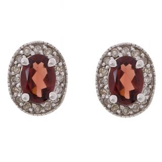 14k White Gold 1/4ct TDW Diamond Garnet Earrings