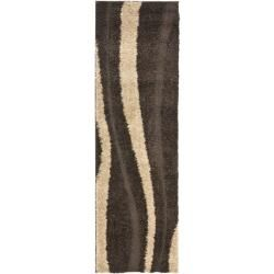 Ultimate Cream/ Dark Brown Shag Rug (23 x 7)