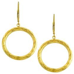 14k Yellow Gold Diamond cut Drop Earrings