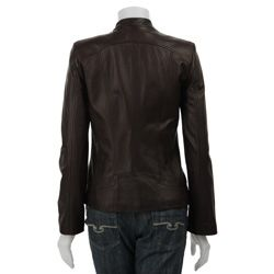 Cole Haan Womens Smooth Lamb Slim Fit Leather Moto Jacket