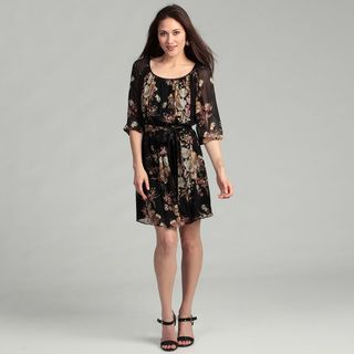 Ellen Tracy Womens Black Floral Tunic Dress