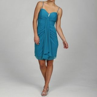 Onyx Womens Turquoise Spaghetti Strap Evening Dress