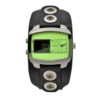 Fossil Mens Digital Black Leather Green Dial Watch